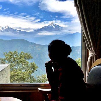 Visitor enjoying the breaking taking view